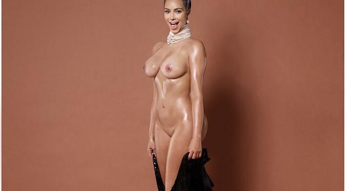 kim kardashian nue pour paper de face